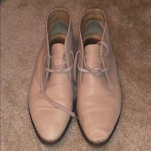 J crew leather oxford leather booties
